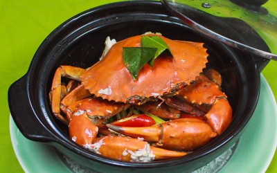 Steamed sea crab with salt